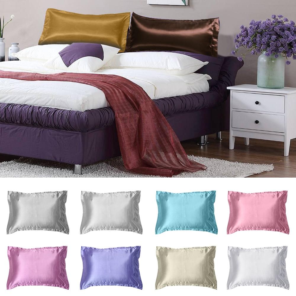 1 Pc Soft Queen Standard Silk Satin Pillow Case Multi