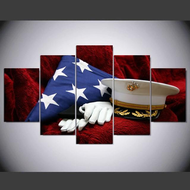 5 pieces set hd canvas spray printing usa military uniforms home
