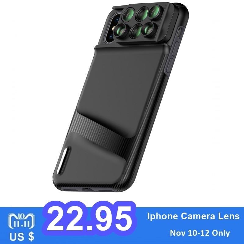 Lente da câmera para o iphone xr xs max x caso do telefone móvel lentes kit 6 em 1 olho de peixe grande angular macro lente para olho de peixe