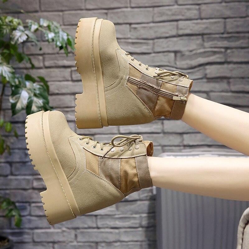 Nieve khaki Cuña 5 Piel Moda Negro Al Tobillo Libre Zapatos Casuales Invierno De Botas Felpa Aire 12 Cortas Plataforma Cm Calientes Zapatillas 2018 Mujer SxfPqgzwT
