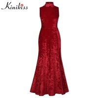 Kinikiss Summer Elegant Maxi Dress Sexy A Line Split Sleeveless Fashion Solid Red Stand Collar Pleuche