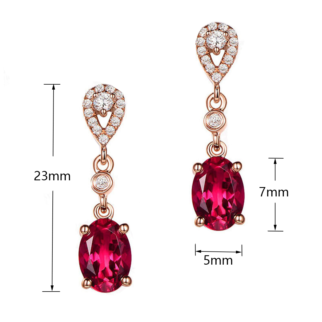 Rose Gold Stud Earrings with Big Red CZ Crystal Stone for Women