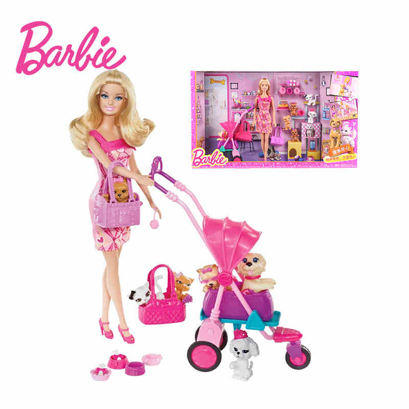 Barbie Original Brand Shopping Girl And Pet Dog Barbie Dolls Set For Little Girl Christmas Day's Gift Boneca BCF82 barbie originais hair feature doll house coloring activity american girl dolls barbie dolls brinquedos boneca children gift fbh6
