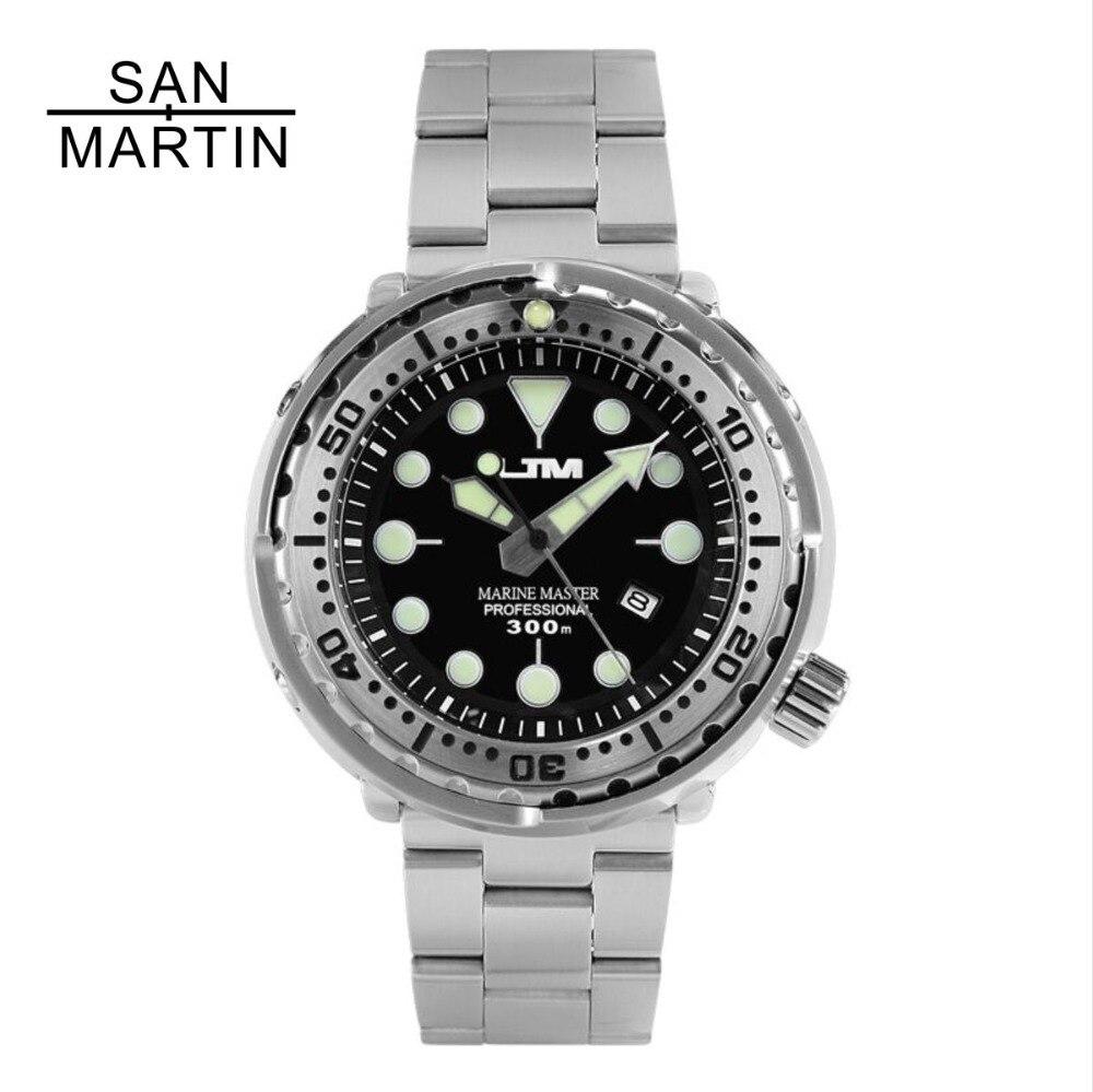 Fashion Style San Martin Tuna Sbbn015 Fashion Photodynamic Energy Quartz Watch Stainlss Steel Diving Watch 300m Water Resistant Ceramics Bezel Driving A Roaring Trade Men's Watches Watches