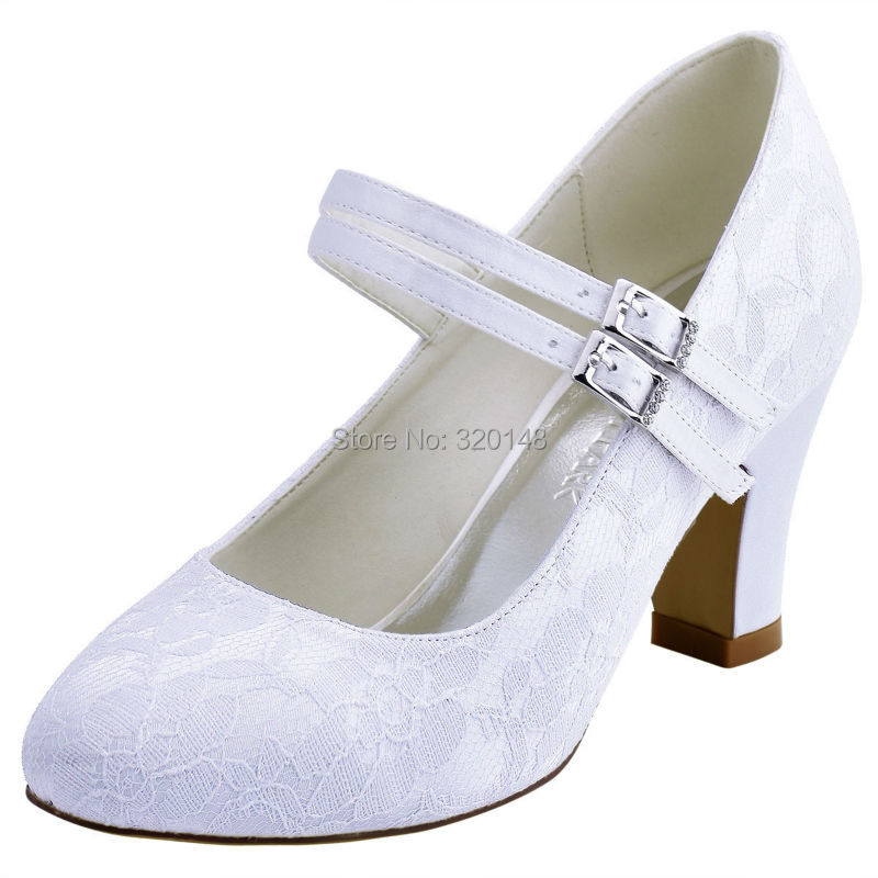 cf43e487a5c HC1701 Shoes Woman Wedding Bridal Block Heel White Ivory Closed Toe ...