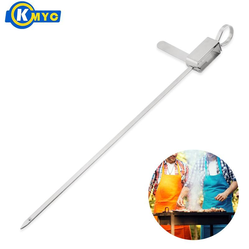 KMYC Stainless Steel BBQ Skewer With Food Remover Grilling Food Needle Sticks Meat Roasting Forks Kitchen Outdoor Barbecue Tools