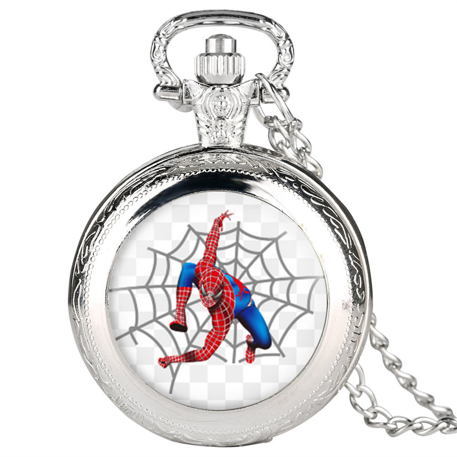 Superhero The Spiderman Quartz Pocket Watch Men Fashion Fob Women Watches With Necklace Pendant Clock Gifts For Children Boys