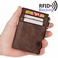 2016 RFID Blocking Genuine Leather Slim Wallet for Men Small Card Holder Luxury Brand Designer Short Wallets Mini Zip Coin Purse