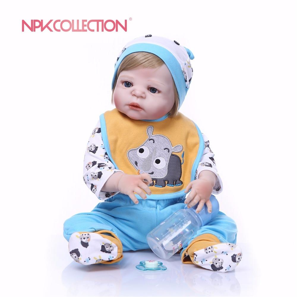 NPKCOLLECTION New design little rhino Doll Full Silicone Body Lifelike Bebes Reborn Prince Doll Handmade Baby
