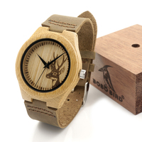New Gift Watch Engraved Elk Head Natural Wood Watch With Genuine Cowhide Leather Lovers Luxury Wristwatch