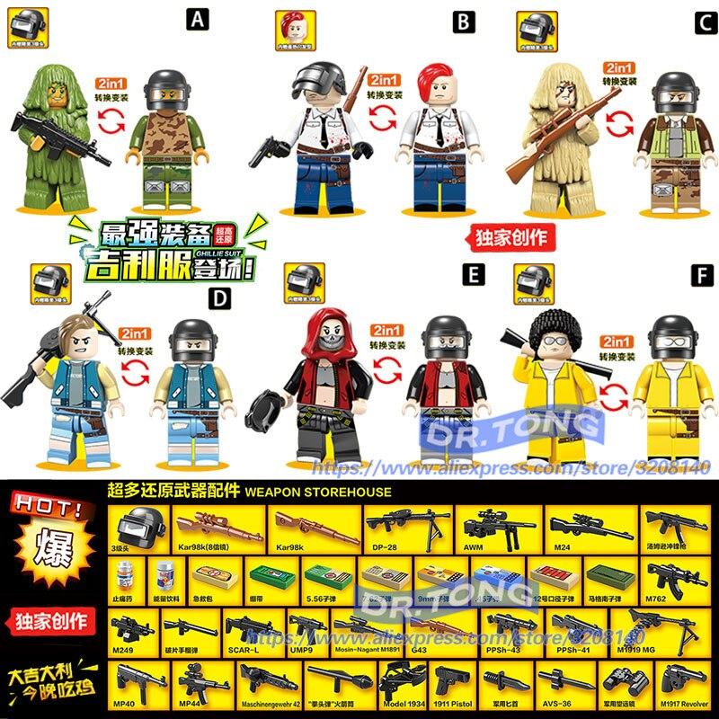60PCS PUBG Game Figures Winner Winner Chicken Dinner Army Weapon Military Parachute Building Blocks Bricks Children Toys D100050 цена 2017