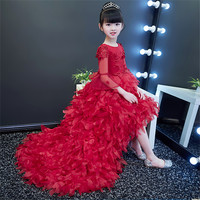 2018 Spring New Children Girls Long Train Tail Feathers Flowers Pageant Dress Baby Kids Party Luxury Lace Birthday Dance Dresses