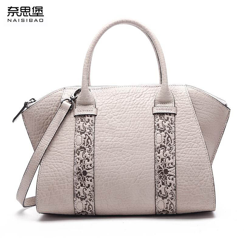 NAISIBAO Women bag 2017 New genuine leather bag high quality leather embossing fashion tote women handbags shoulder bag 2016 new women genuine leather bag fashion chinese style top quality cowhide embossing women leather handbags shoulder bag