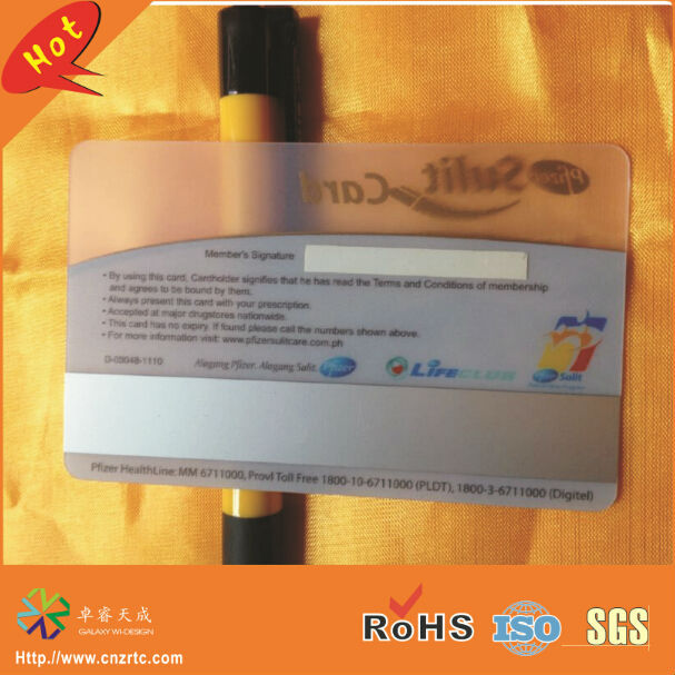 silver high-co magnetic strip panel both side full color printing and size custom clear business card