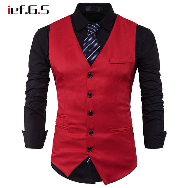 IEF.G.S Men's Vest Giletmen Waistcoat Business Slim gold Tuxedo Gilet Suit Vest Men Plaid Clothing tweed red vest weste herren