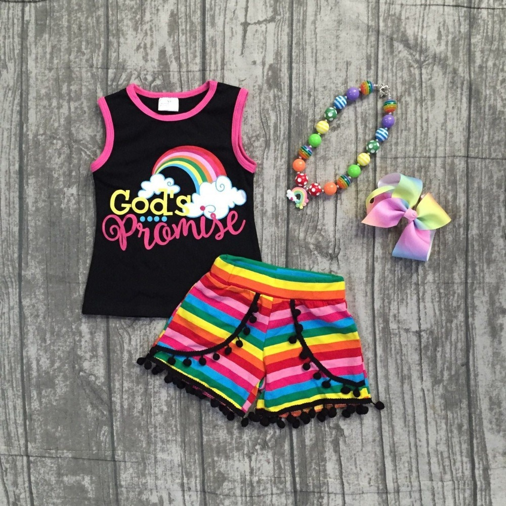 new summer God's princess pom-pom striped shorts set rainbow hot sell super cute baby kids wear girls clothing with accessories baby pom pom hem swan print romper with headband