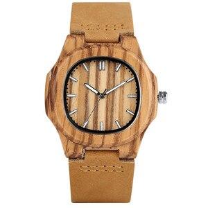 Image 5 - Деревянные часы для мужчин и женщин, оригинальные часы с круглыми циферблатами, корпус из светлого дерева, ремешок из натуральной кожи, часы из бамбукового дерева, мужские часы