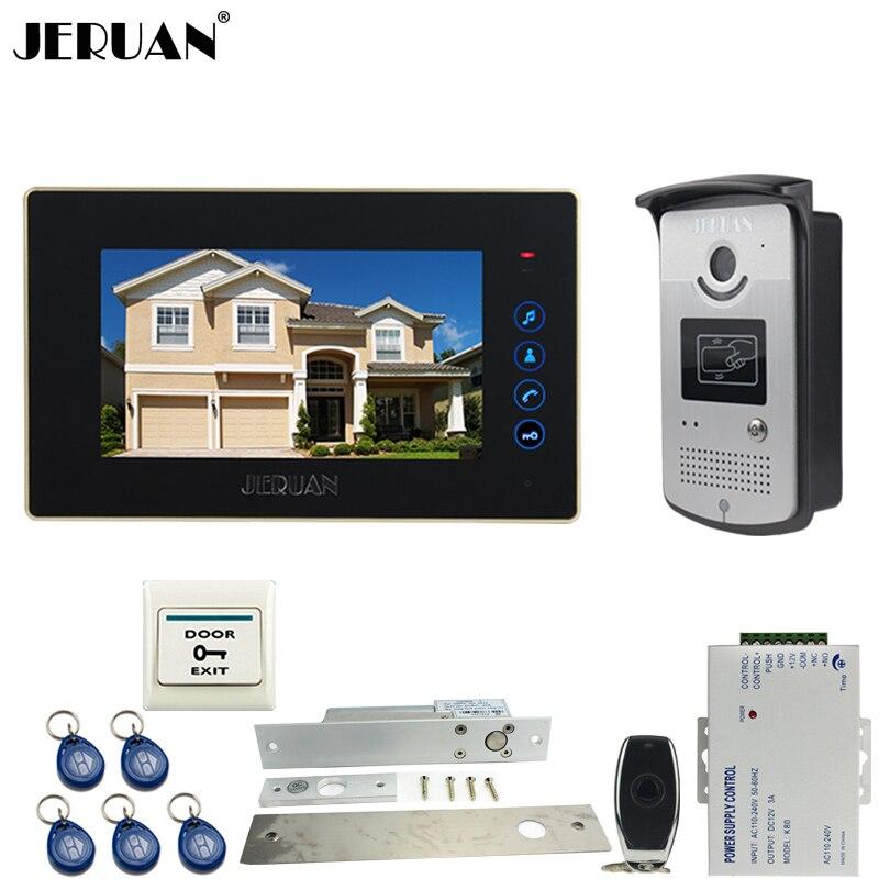 JERUAN Home 7`` LCD Touch video doorphone intercom systemr+700TVL IR Night Vision camera+Electric Drop Bolt lock+FREE SHIPPING