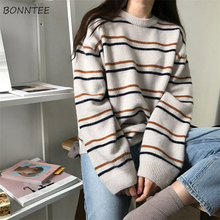 Pullovers Women Soft Autumn O Neck Sweaters Chic Daily Tops Womens Pullover Sweet Student Striped Harajuku Knitted Loose Outwear