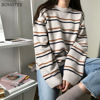 Pullovers Women Soft Autumn O-Neck Sweaters Chic Daily Tops Womens Pullover Sweet Student Striped Harajuku Knitted Loose Outwear