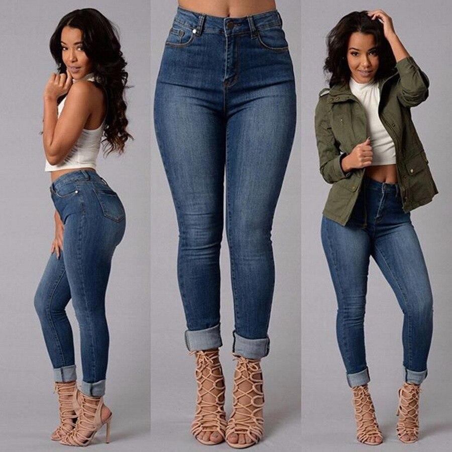 Autumn Winter Fashion S- XL High Waist heans High Elastic Plus Size Women Jeans Woman Femme Washed Casual Skinny Denim Pants fashion s xxl autumn high waist jeans