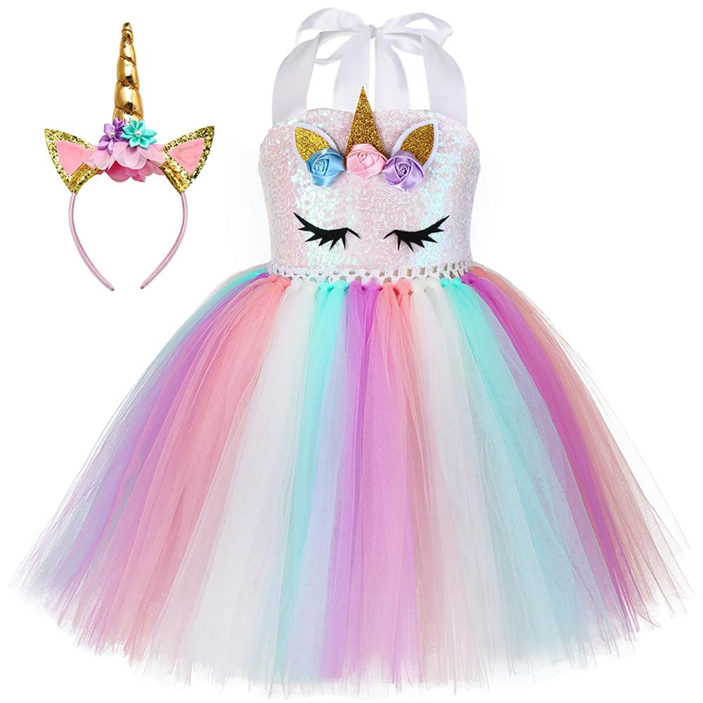 Kids Unicorn Tutu Dress With Headband Little Girls Flowers Sequin Unicorn Theme Birthday Party Costume For Halloween Carnival 1