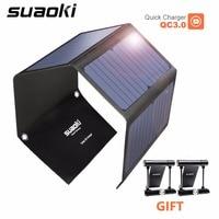 SUAOKI 28 W cargador de células solares portátil luz Solar QC 3,0 carga rápida 3 USB 3.1A puerto de salida para iPhone iPad Samsung Tablet