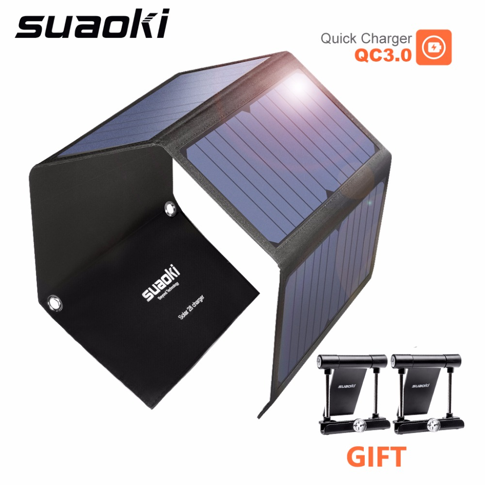 SUAOKI 28W Portable Solar Cells Charger QC 3.<font><b>0</b></font> <font><b>Quick</b></font> <font><b>Charging</b></font> 3 USB 3.1A Output Port for iPhone iPad Samsung Tablet image