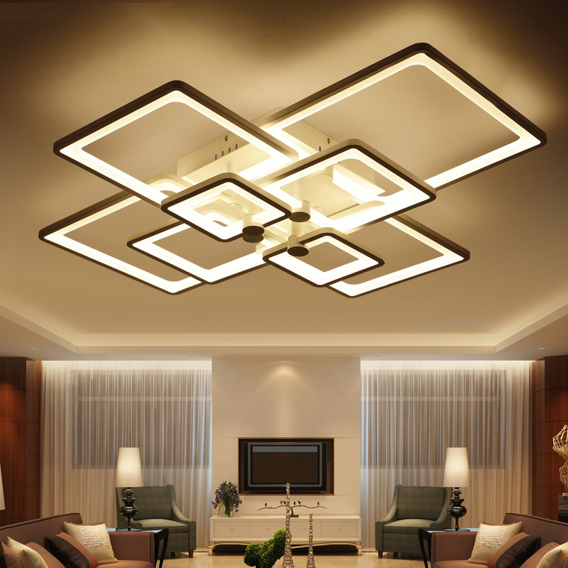 Light Filled Contemporary Living Rooms: Modern Led Lamp With Acrylic Remote Control For Living