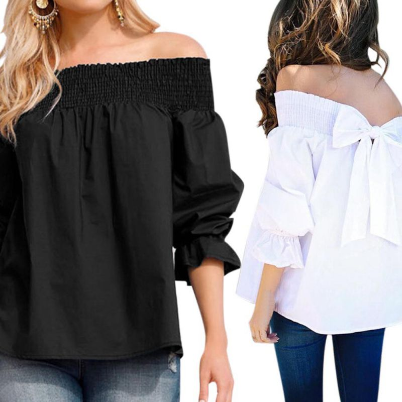HTB1w1s0JWSWBuNjSsrbq6y0mVXaT - Sexy Off Shoulder Bowknot Blouse Spring Summer Strapless Women Tops Slash Neck Shirts Casual Loose Blusas Plus Size