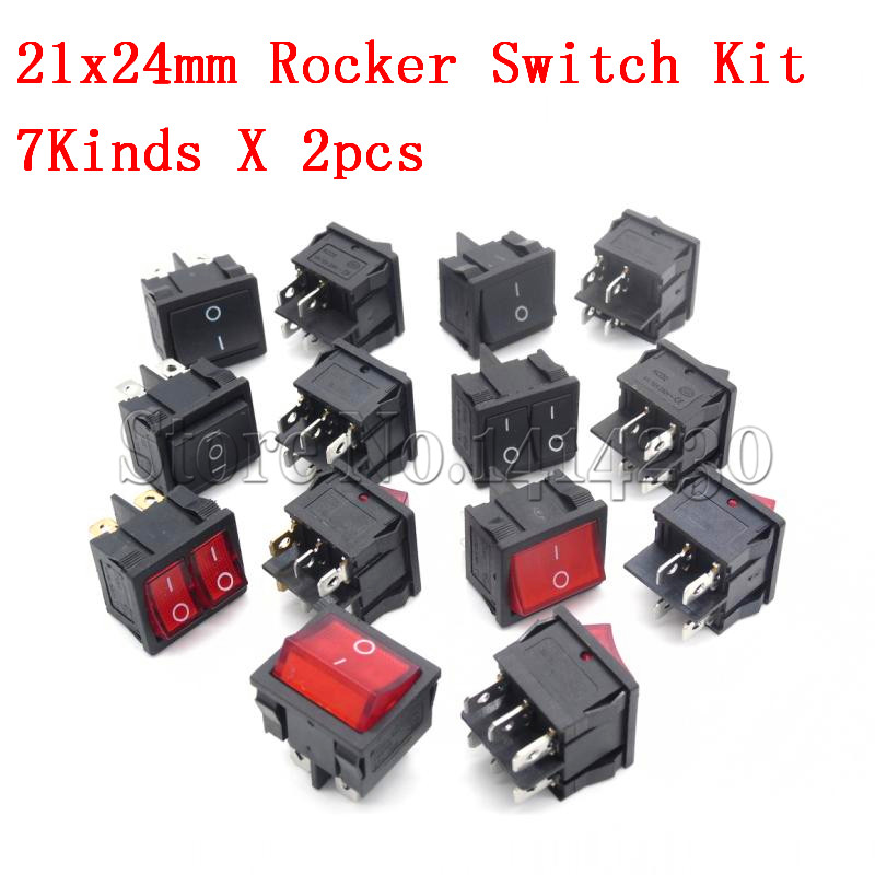 14Pcs=(1Pack) KCD5 21x24mm 21*24mm Rocker Switches Kit 4 Pin 6Pin 2 Position 3 Position 6A/12A 250VAC ON-OFF ON-OFF-ON 7Kinds14Pcs=(1Pack) KCD5 21x24mm 21*24mm Rocker Switches Kit 4 Pin 6Pin 2 Position 3 Position 6A/12A 250VAC ON-OFF ON-OFF-ON 7Kinds