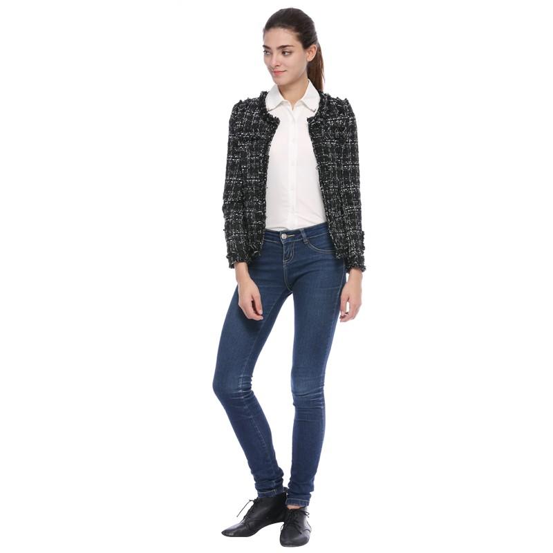 Black Plaid Short Women Coat Jacket