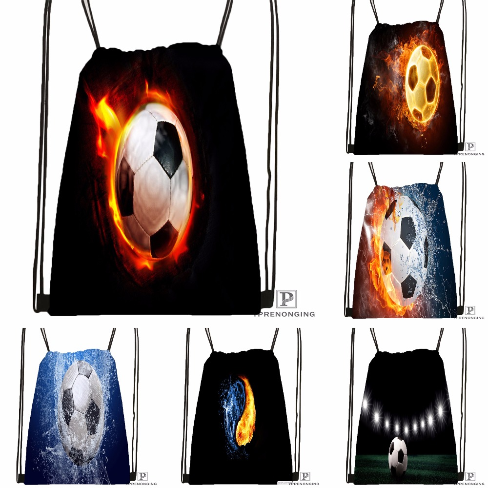 Custom Soccer Ball Water and Fire Drawstring Backpack Bag Cute Daypack Kids Satchel Black Back 31x40cm