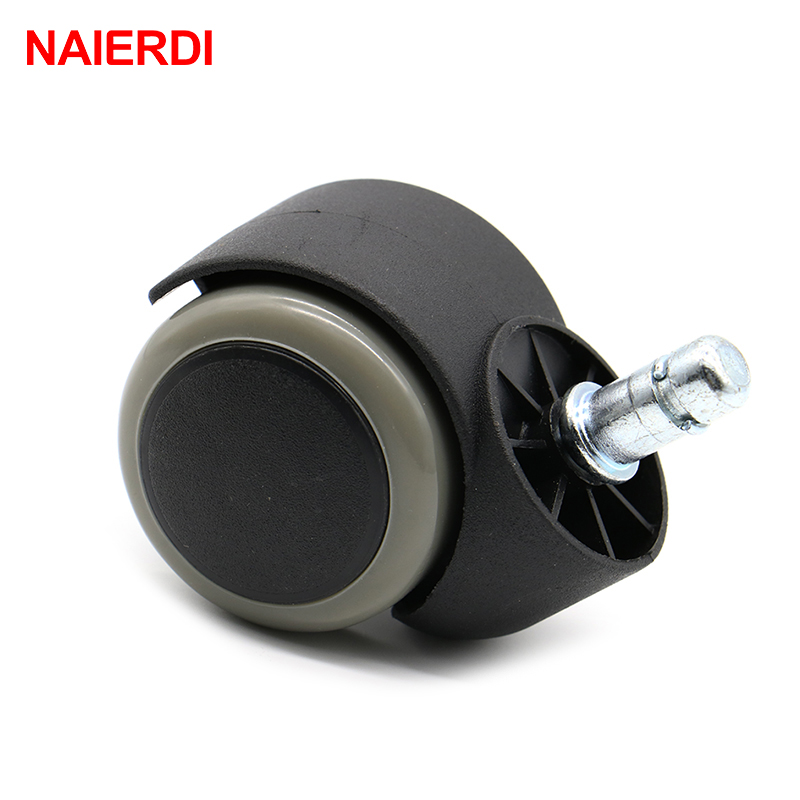 NAIERDI Gray 50KG Universal Mute Wheel 2 Replacement Office Chair Swivel Caster Rubber Rolling Roller Wheels Furniture Hardware 2pcs black plastic 40mm replacement angle brake swivel casters office chair sofa wheels rolling roller caster furniture hardware