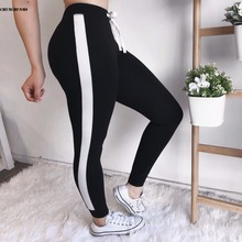 2018 Summer Fitness Women Pencil Pants Casual Side Striped Drawstring Women Full Pants Skinny Plus Female
