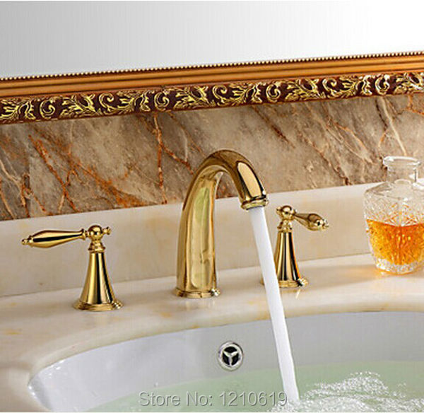 US Free Shipping Wholesale And Retail Modern Luxury Golden Polish Bathroom Basin Sink Faucet Mixer Tap Dual Handles Deck Mounted us free shipping wholesale and retail modern deck mounted antique brass bathroom basin sink faucet mixer faucet tap dual handle