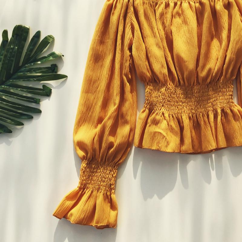 2019 spring new women pure color slash neck elasticity waist lantern sleeve blouses shirt female elegant sweet slim shirts tops 13