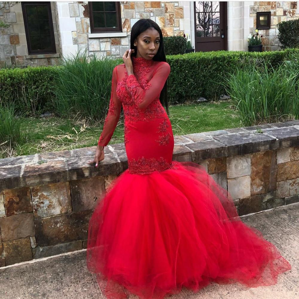 2018 Black Girls African Red Mermaid Evening Dress Prom Dresses Long Sleeves Beads Applique High Jewel Neck Floor Length Dress