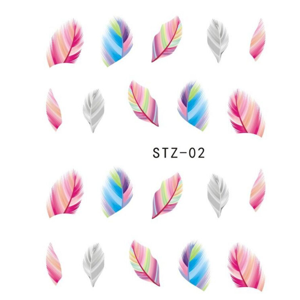 Stickers decals nail stickers nail art decals fashion - 1sheets Hot Fashion Styles Colorful Feather Nail Sticker Water Transfer Tattoos Nail Art Decals Decorations Tips