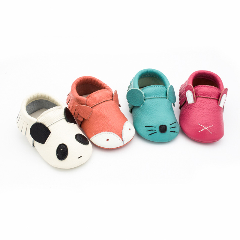 New Genuine Leather Cartoon Baby Shoes Soft Bottom Lovely First Walkers Sew Panda Fox Baby Moccasins Indoor Shoes