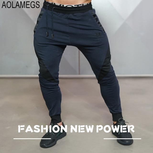 Aolamegs Mens Basculadores Pants Academias de fitness TrainingRunningJogging Bottoms Masculinos Calças Gymshark Musculação Sportswear Moletom