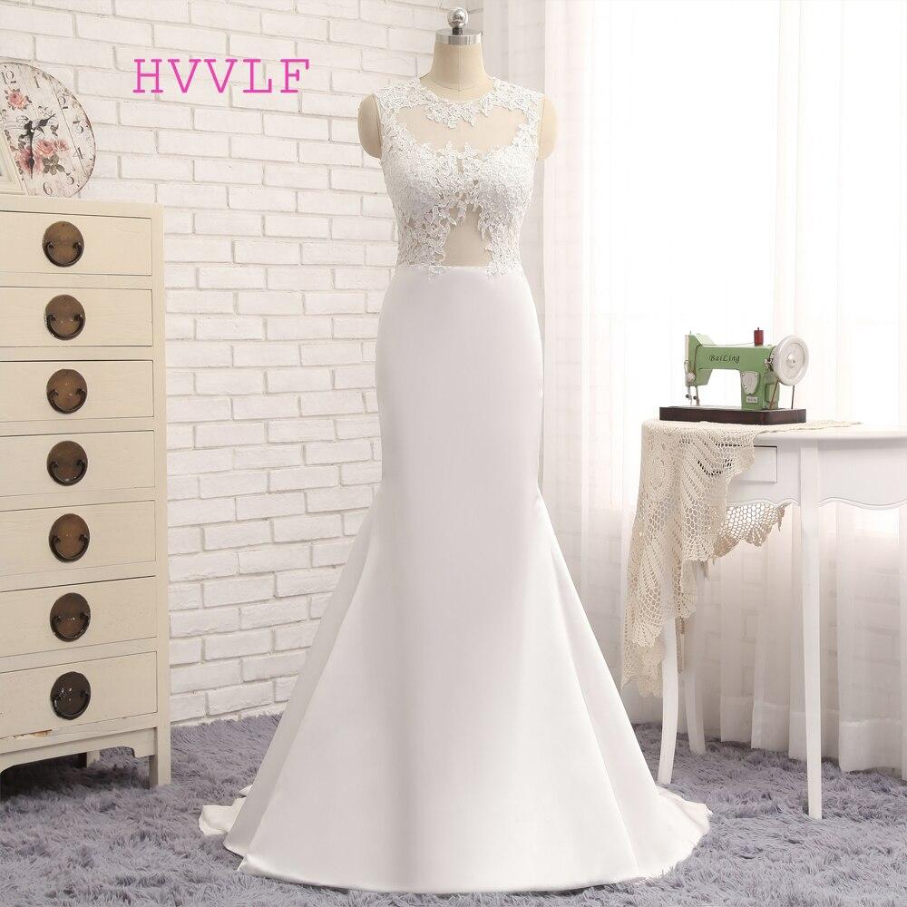 Vestido De Noiva 2018 Beach Wedding Dresses Mermaid High Collar Applique Lace Vintage Wedding Gown Bridal Dresses HVVLF