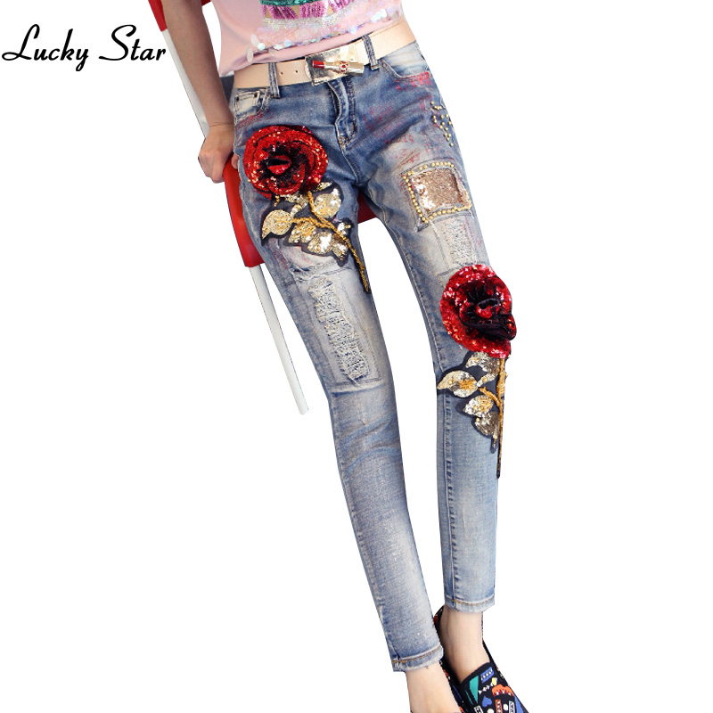 ФОТО 3D Rose Sequin Jeans Slim Jeans Lady Elastic Pencil Pants Elegant Style Ripped Vintage Rose Sequined Skinny Jeans Plus Size 32