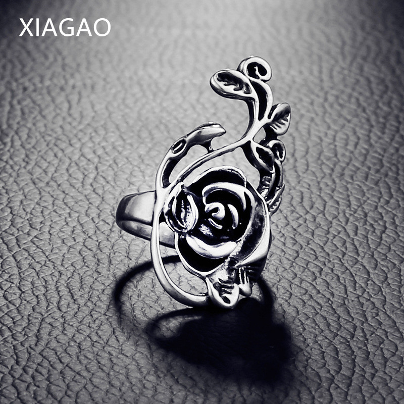 XIAGAO Trendy Anillo Fashion Rings for Women Black Rose Finger Ring Female Unique Retro Ladies Jewelry Luxury Gift CNR233