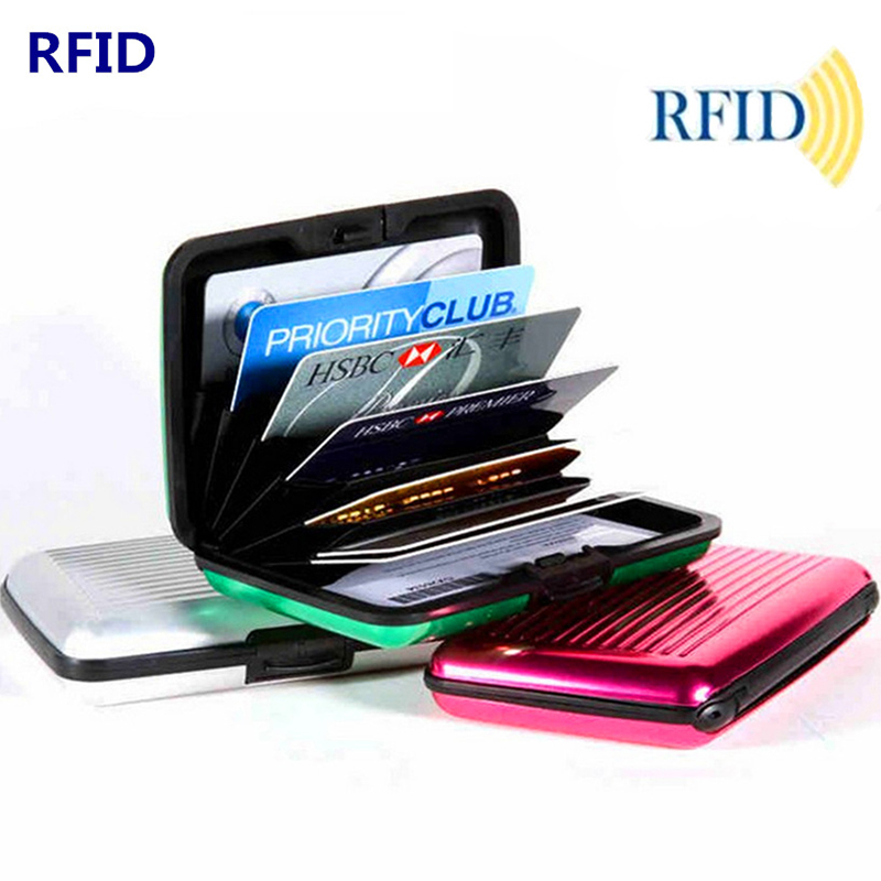 Metal Credit Cards Holder Professional ID Card Protector Anti Degaussing Safe Wallets RFID Blocking Small Card Case Container
