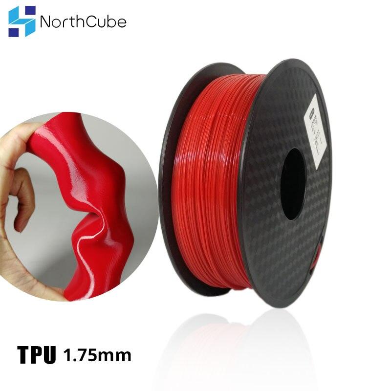 3D Printing Filament TPU Flexible Filament TPU Filament Plastic For3D Printer 1.75mm  Printing Materials Gray Black Red Color