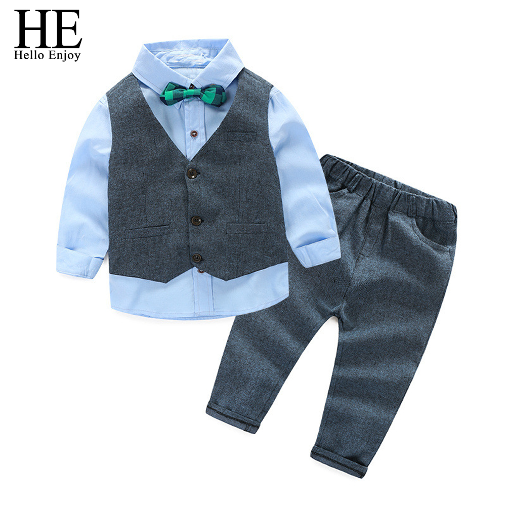 HE Hello Enjoy Childrens Clothes Sets Boys Autumn Long Sleeve Bow Tie Shirts+Vest+Pants 3PCS Wedding Suits Birthday Party Kids bear leader baby clothing sets kids clothes autumn baby sets kids long sleeve sports suits bow tie t shirts pants boys clothes