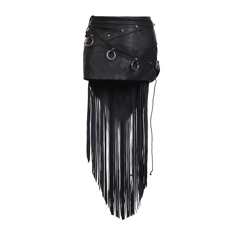 Стиль с кисточкой панк Рейв Готический модная новинка пикантные кожаные короткие Для женщин юбка Visual kei панк стимпанк рок Косплэй Harajuk