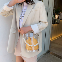 Transparent Bucket Composite Bag For Ladies Vintage Pearl Handle Shoulder Bag Female New High Quality Pu Leather Crossbody Bags faux pearl detail pu bucket bag