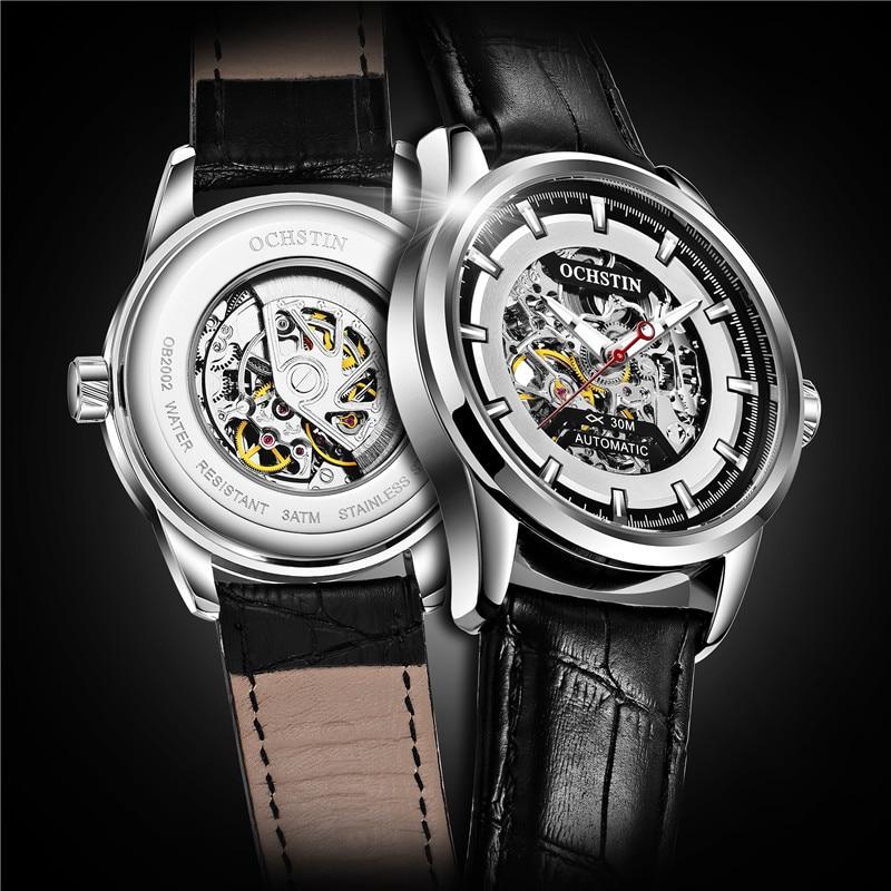 2018 Men Watches Automatic Mechanical Watch Tourbillon Sport Clock Leather Casual Business Waterproof Wristwatch Relojes Hombre
